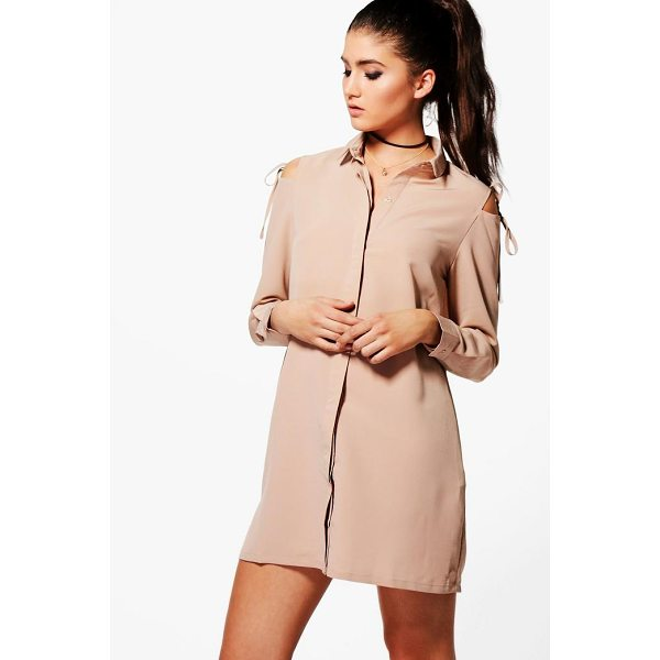 BOOHOO Georgia Cold Shoulder Tie Detail Shirt Dress - Dresses are the most-wanted wardrobe item for day-to-night...