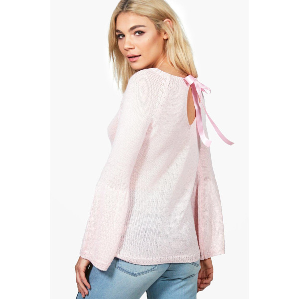 BOOHOO Georgia Lace Up Back Wide Sleeve Jumper - Nail new season knitwear in the jumpers and cardigans that...