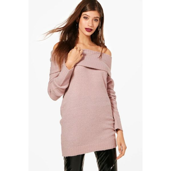 BOOHOO Georgia Soft Knit Bardot Tunic - Nail new season knitwear in the jumpers and cardigans that...