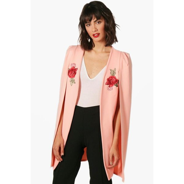 BOOHOO Georgina Embroidered Longline Tailored Crepe Cape - Wrap up in the latest coats and jackets and get out-there...
