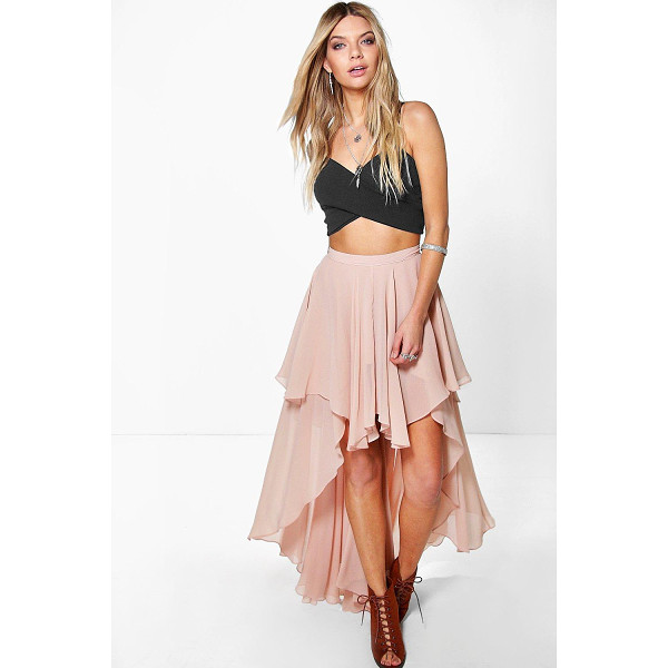 BOOHOO Giselle High Low Hem Bohemian Maxi Skirt - Party with your pins out in a statement evening skirtSteal...