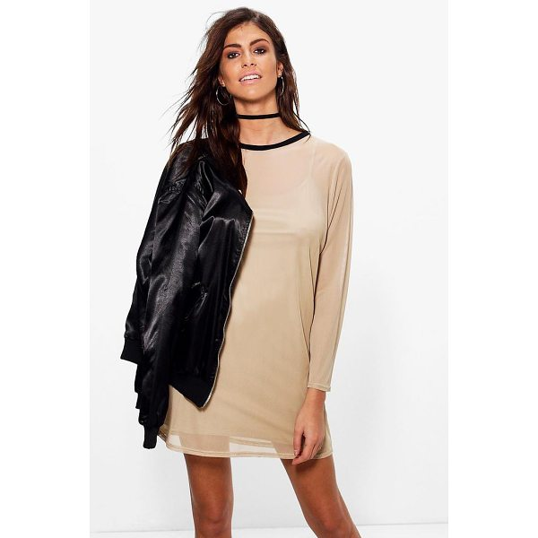BOOHOO Grace Long Sleeve Mesh Shift Dress - Dresses are the most-wanted wardrobe item for day-to-night...