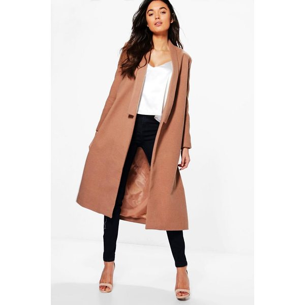 BOOHOO Grace Shawl Collar Wool Coat - Wrap up warm in the latest wool look outerwear. A stylish...
