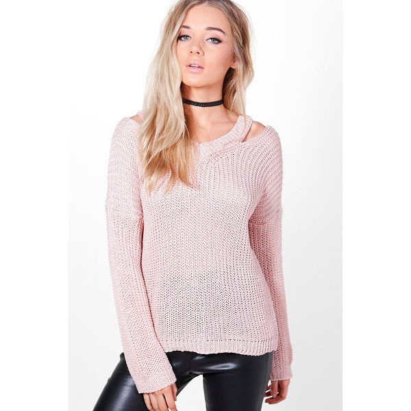 BOOHOO Grace Slit Shoulder Slouchy Jumper - Nail new season knitwear in the jumpers and cardigans that...