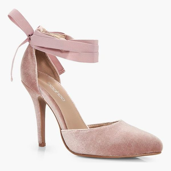 BOOHOO Grace Velvet Ribbon Tie Pointed Court Shoes - We'll make sure your shoes keep you one stylish step ahead...