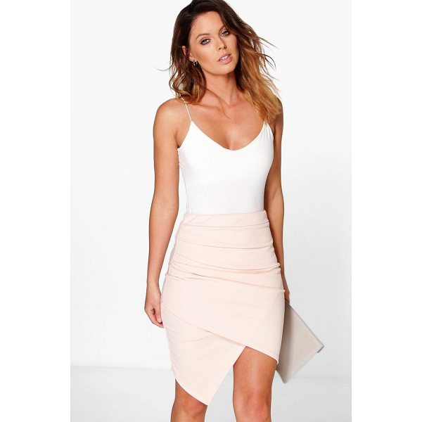 BOOHOO Gracie Rouched Side Asymetric Skirt - Midi skirts are this season's hottest must-have staple...