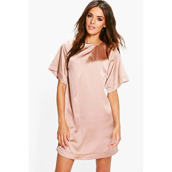 BOOHOO Gracie Satin Cap Sleeve Shift Dress - Dresses are the most-wanted wardrobe item for day-to-night...