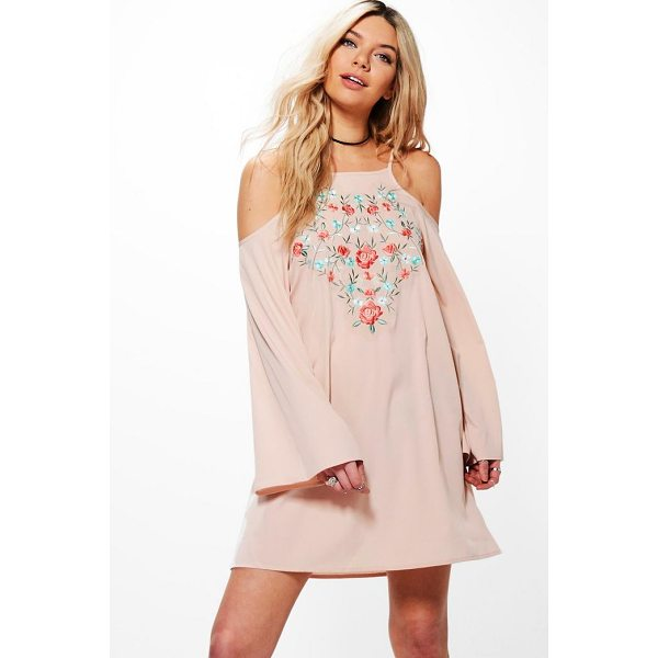BOOHOO Greta Cold Shoulder Flute Sleeved Shift Dress - Dresses are the most-wanted wardrobe item for day-to-night...