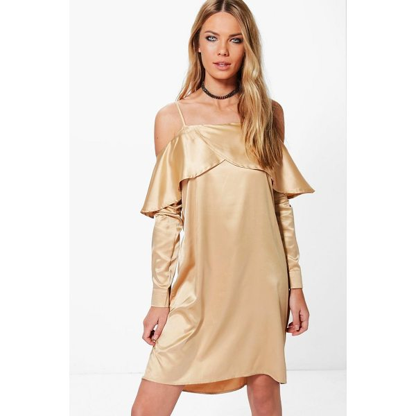 BOOHOO Greta Satin Open Shoulder Frill Shift Dress - Dresses are the most-wanted wardrobe item for day-to-night...