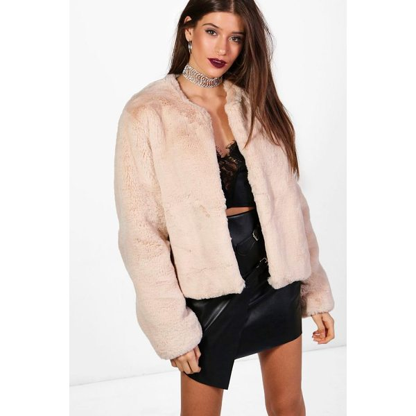 BOOHOO Hailey Boutique Crop Faux Fur Coat - Wrap up in the latest coats and jackets and get out-there...
