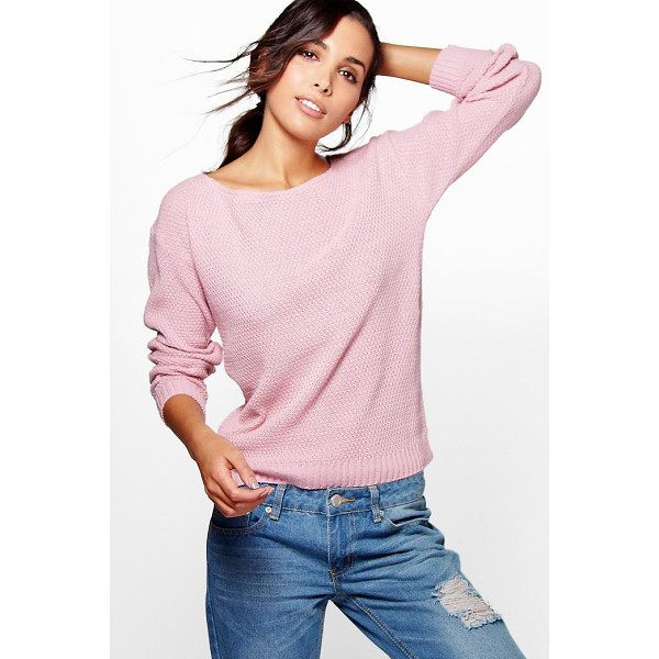 BOOHOO Hallie Round Neck Moss Stitch Jumper - Nail new season knitwear in the jumpers and cardigans that...