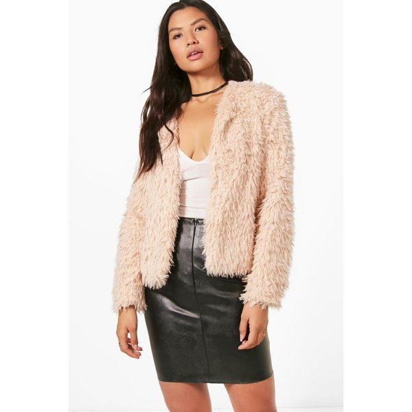 BOOHOO Hannah Cropped Shaggy Faux Fur Coat - Wrap up in the latest coats and jackets and get out-there...