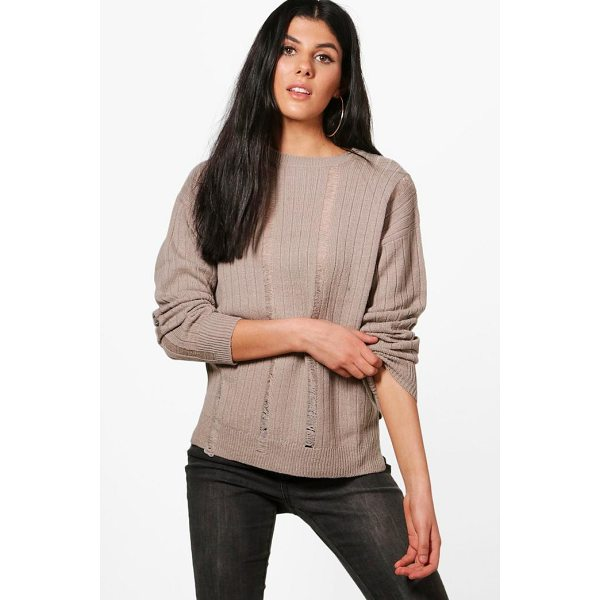 BOOHOO Hannah Distressed Laddered Rib Knit Jumper - Nail new season knitwear in the jumpers and cardigans that...