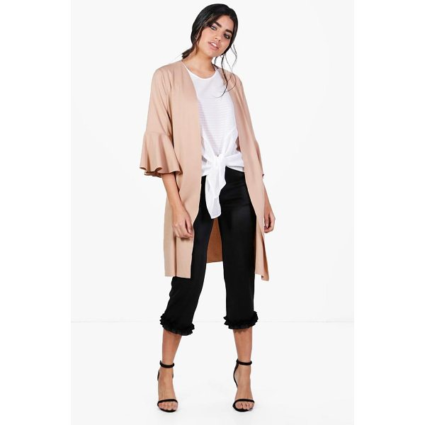 BOOHOO Hannah Flute Sleeve Duster - Wrap up in the latest coats and jackets and get out-there...