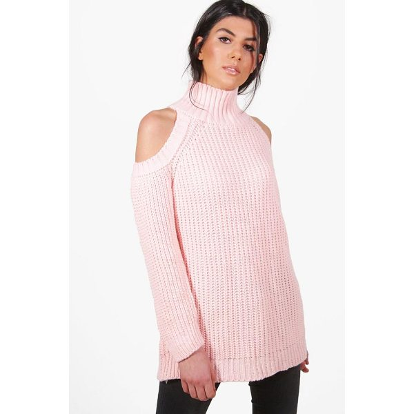 BOOHOO Hannah Funnel Neck Cold Shoulder Jumper - Nail new season knitwear in the jumpers and cardigans that...