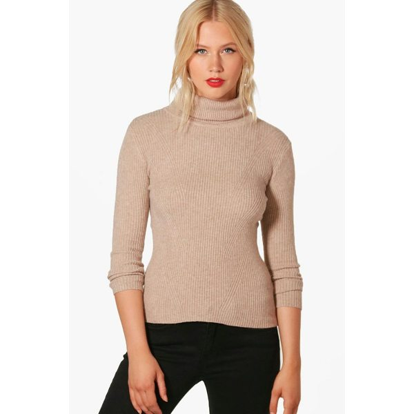 BOOHOO Hannah Roll Neck Rib Knit Jumper - Nail new season knitwear in the jumpers and cardigans that...