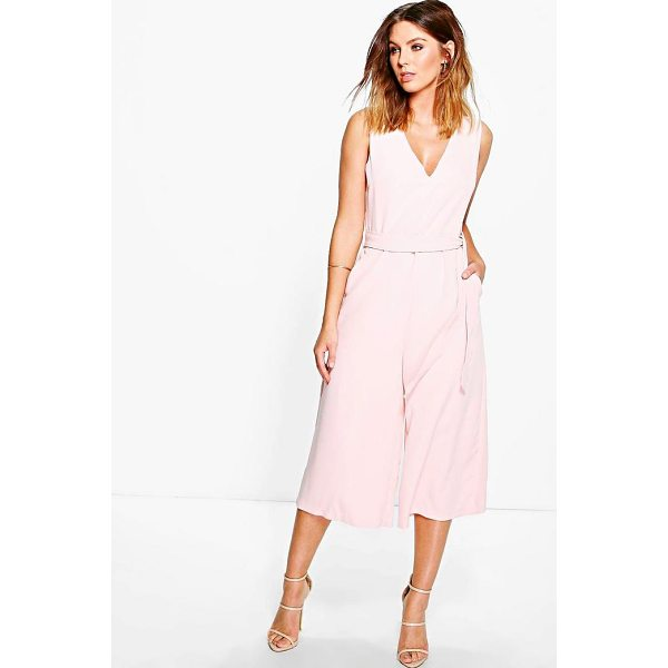 BOOHOO Hannah Woven Tie Belt Culotte Jumpsuit - Jump start your new season wardrobe with the always chic...