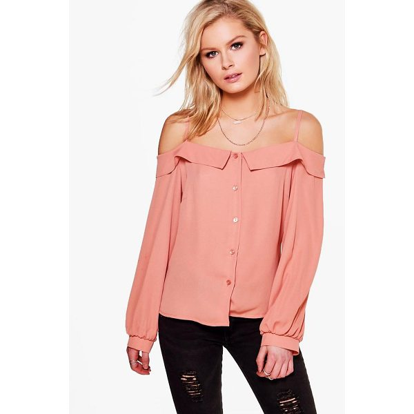 BOOHOO Harper Cold Shoulder Woven Shirt - Steal the style top spot in a statement separate from the...