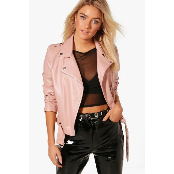 BOOHOO Harriet Faux Leather Vegan Biker - Wrap up in the latest coats and jackets and get out-there...