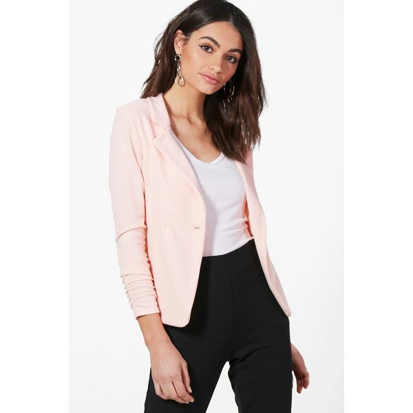 BOOHOO Harriet Gathered Sleeve Button Ponte Blazer - Wrap up in the latest coats and jackets and get out-there...