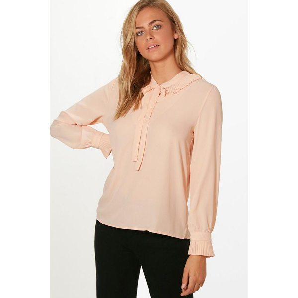 BOOHOO Harriet Ruffle Neck Tie Detail Shirt - Steal the style top spot in a statement separate from the...