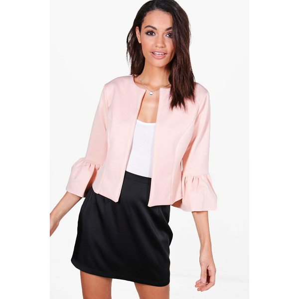 BOOHOO Harriet Ruffle Sleeve Collarless Blazer - Wrap up in the latest coats and jackets and get out-there...