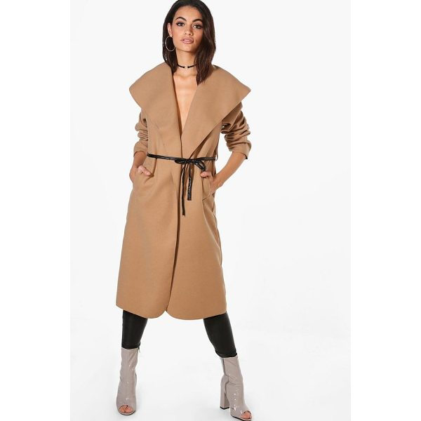 BOOHOO Harriet Waterfall PU Belted Wool Look Coat - Wrap up in the latest coats and jackets and get out-there...