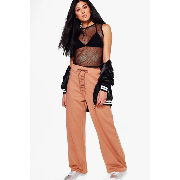 BOOHOO Haven Lace Up Wide Leg Loopback Sweat Joggers - Trousers are a more sophisticated alternative to...