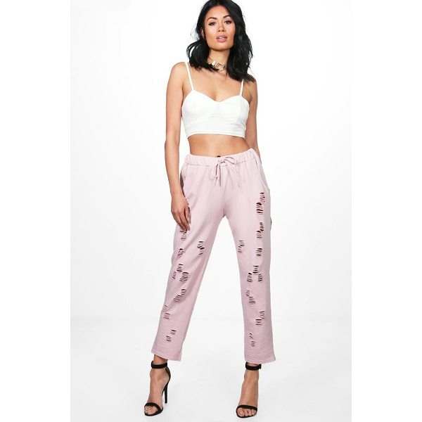BOOHOO Hayley Distressed Loopback Sweat Joggers - Trousers are a more sophisticated alternative to...