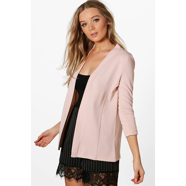 BOOHOO Heather Collarless Waffle Blazer - Wrap up in the latest coats and jackets and get out-there...