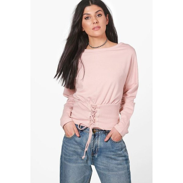 BOOHOO Heather Slouchy Lace Up Corset Sweatshirt - Steal the style top spot in a statement separate from the...
