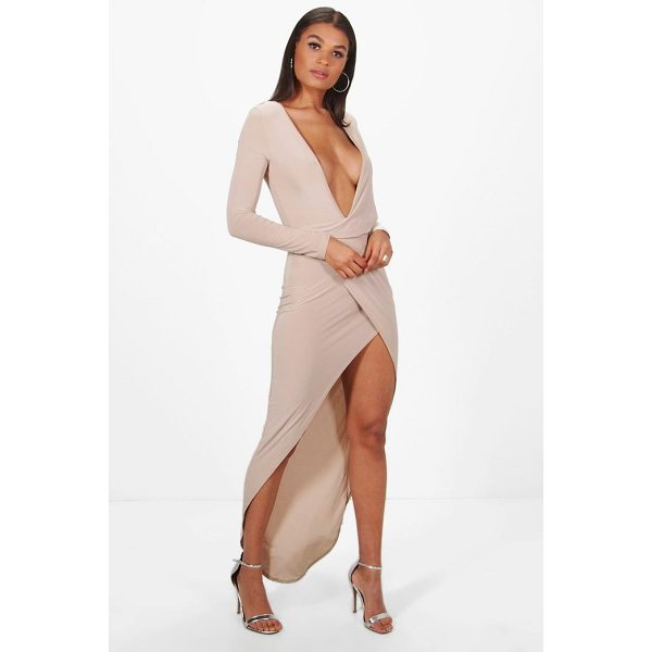 BOOHOO Hedda Deep Plunge Drape Slinky Maxi Dress - Dresses are the most-wanted wardrobe item for day-to-night...
