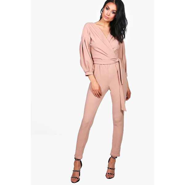 BOOHOO Helen Exaggerated Sleeve Structured One Piece - Helen Exaggerated Sleeve Structured Jumpsuit stone