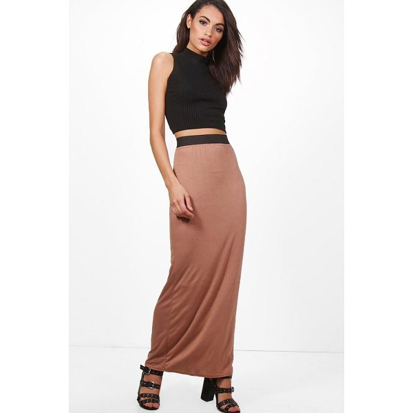 BOOHOO Helena Basic Contrast Waist Jersey Maxi Skirt - Skirts are the statement separate in every wardrobe This...