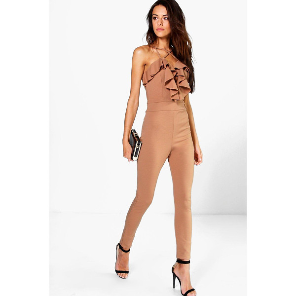 BOOHOO Helena Ruffle Cross Front Skinny Leg Jumpsuit - Jumpsuits are your day-to-night dress alternativeYour 70s...