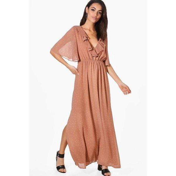 BOOHOO Hester Polka Dot Ruffle Wrap Maxi Dress - Dresses are the most-wanted wardrobe item for day-to-night...