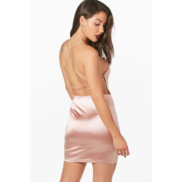 BOOHOO Hilda Satin Strappy Back Bodycon Dress - Going out' We've got all the must have mini dresses: think...