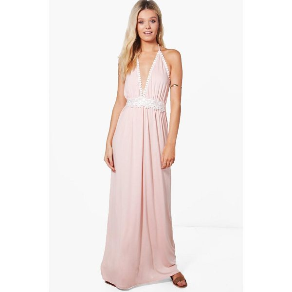 BOOHOO Hollie Crochet Detail Halter Neck Maxi Dress - Dresses are the most-wanted wardrobe item for day-to-night...