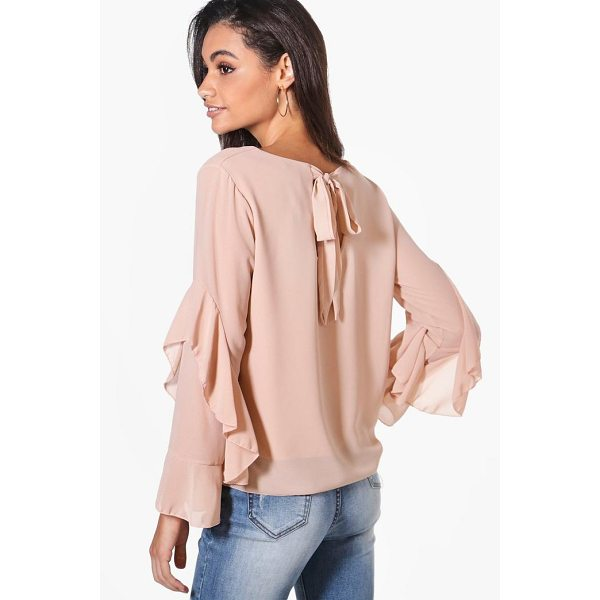 BOOHOO Hollie Tie Back Ruffle Woven Top - Steal the style top spot in a statement separate from the...