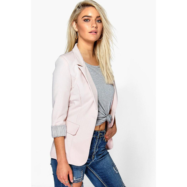 BOOHOO Hollie Turn Up Cuff Woven Blazer - Add some classic tailoring to your wardrobe for...
