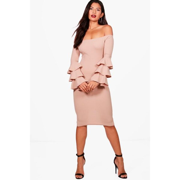 BOOHOO Holly Off Shoulder Frill Sleeve Bodycon Dress - Dresses are the most-wanted wardrobe item for day-to-night...