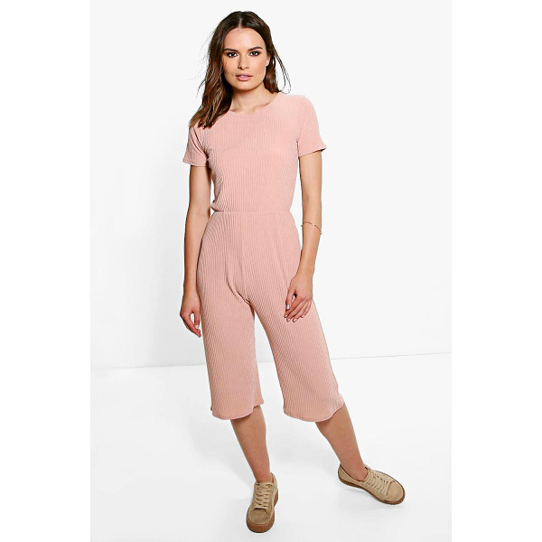BOOHOO Ida Ribbed Capped Sleeve Culotte Jumpsuit - Jumpsuits are your day-to-night dress alternativeYour 70s...