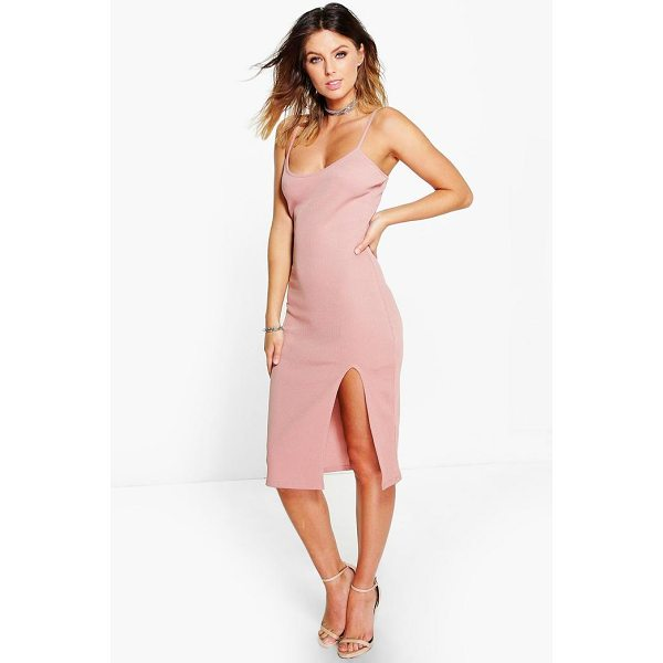 BOOHOO Ida Thigh Split Ribbed Midi Dress - Dresses are the most-wanted wardrobe item for day-to-night...