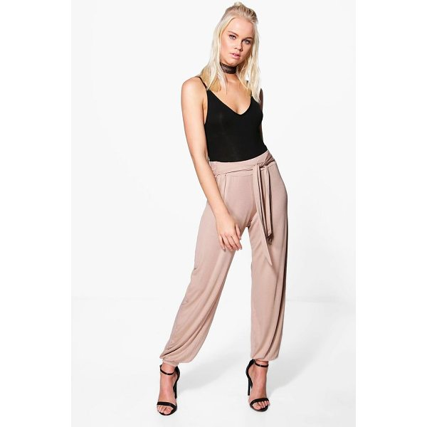 BOOHOO Iman Tie Waist Jersey Hareem Trouser - Kick back and relax in a pair of joggers. Whether you're...