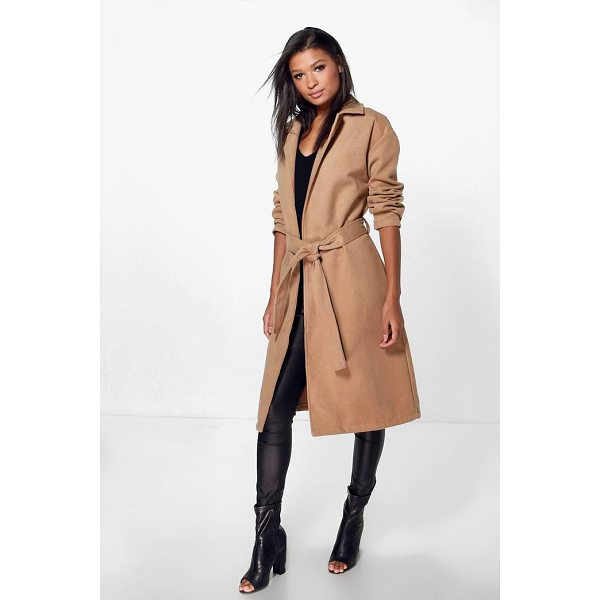 BOOHOO Imogen Belted Wool Look Coat - Wrap up in the latest coats and jackets and get out-there...