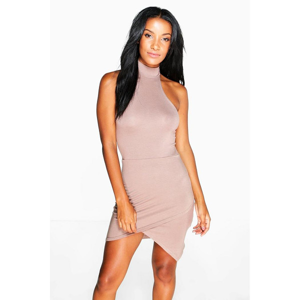 BOOHOO Imogen Halter Neck Asymmetric Bodycon Dress - Pared back day dresses are the perfect base for layering up...