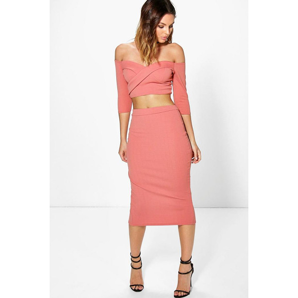 BOOHOO Ina Off The Shoulder Crop & Midi Skirt Co-ord - Co-ordinates are the quick way to quirky this seasonMake...