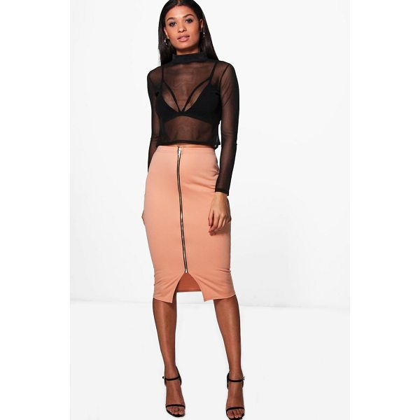 BOOHOO India Zip Front Midi Skirt - Skirts are the statement separate in every wardrobe This...