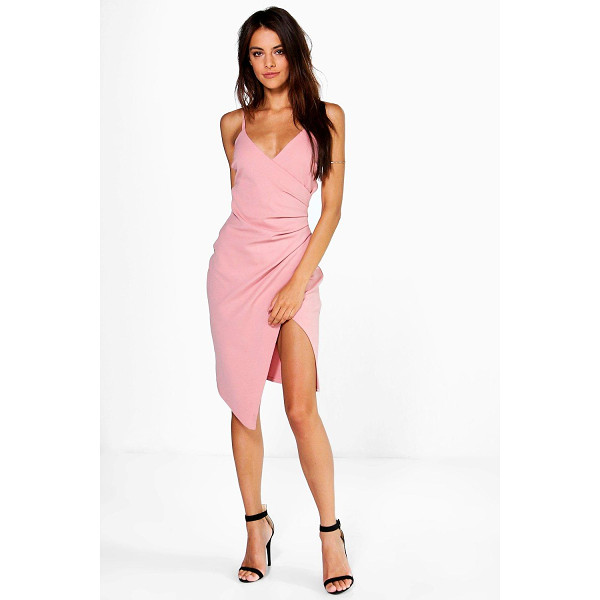 BOOHOO Inna Strappy Wrap Pleated Bodycon Midi Dress - Pared back day dresses are the perfect base for layering up...