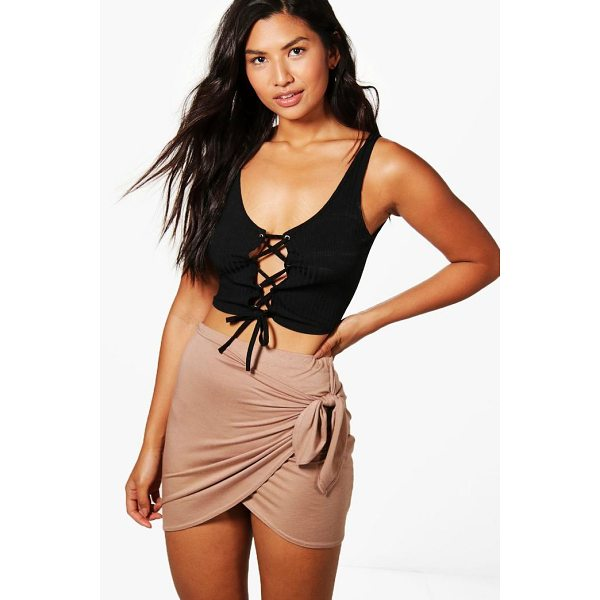 BOOHOO Isabella Wrap Front Tie Waist Jersey Mini Skirt - Knock 'em dead and show off those pins with a killer mini...